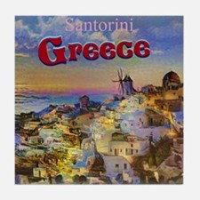 Santorini Greece Tile Coaster