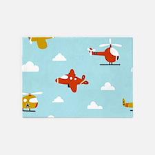 Cartoon Aircraft 5'x7'Area Rug