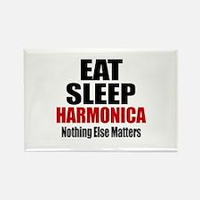 Eat Sleep Harmonica Rectangle Magnet