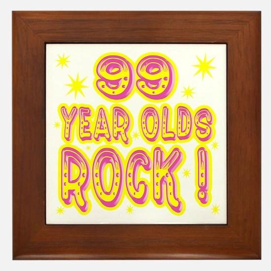 99 Year Olds Rock ! Framed Tile