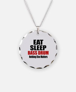 Eat Sleep Bass drum Necklace Circle Charm