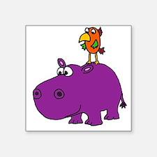 Parrot on Hippo Sticker