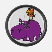 Parrot on Hippo Large Wall Clock