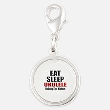 Eat Sleep Ukulele Silver Round Charm