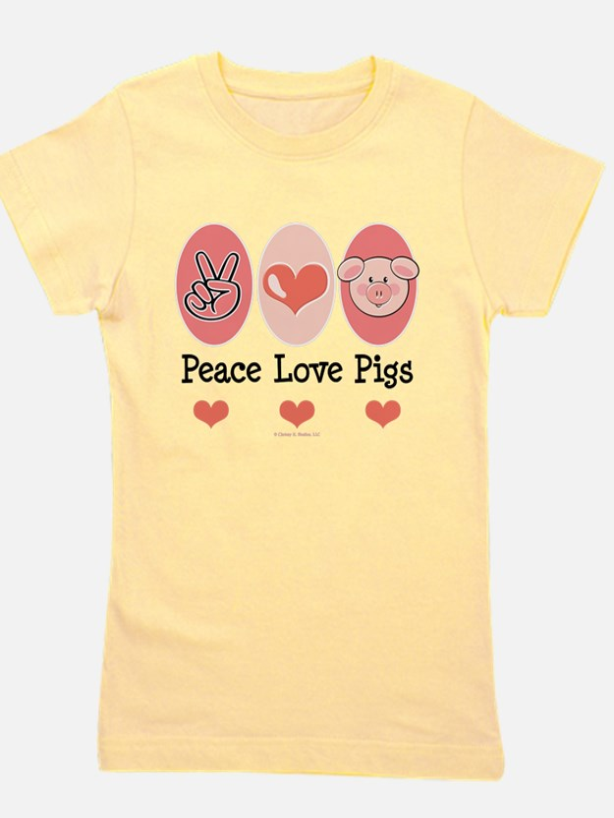 Cute Peace love pig Girl's Tee