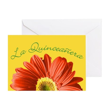 Bright Flower Quinceanera Greeting Card