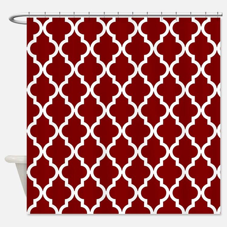 Moroccan Quatrefoil Pattern: Maroon Shower Curtain
