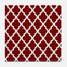 Moroccan Quatrefoil Pattern: Maroon ( Tile Coaster