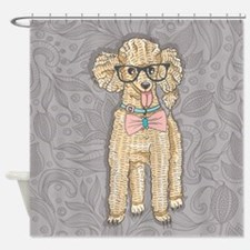 Hipster Poodle Shower Curtain