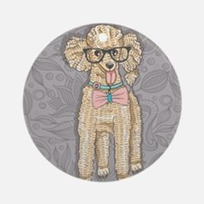 Hipster Poodle Round Ornament