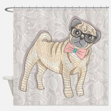 Hipster Pug Shower Curtain