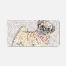 Hipster Pug Aluminum License Plate