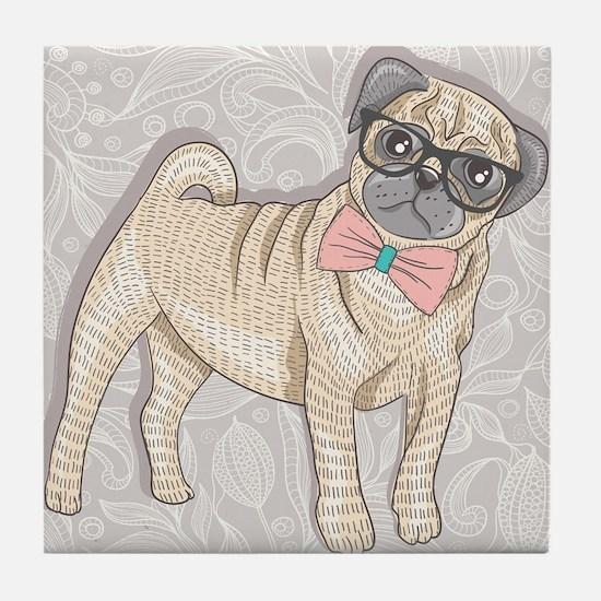 Hipster Pug Tile Coaster