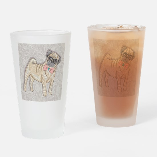 Hipster Pug Drinking Glass