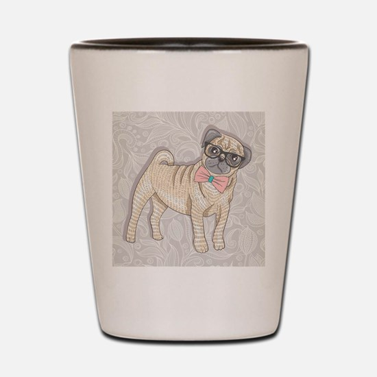 Hipster Pug Shot Glass