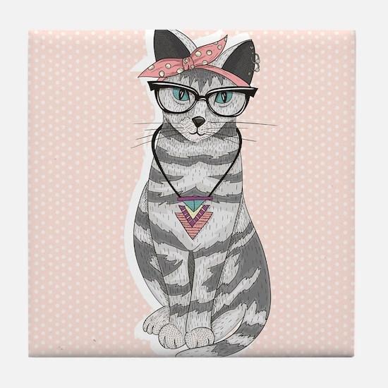 Hipster Cat Tile Coaster