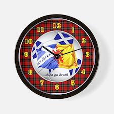 Scotland Red Tartan Football Time Wall Clock