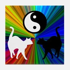 YIN YANG RAINBOW CATS Tile Coaster