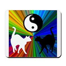 YIN YANG RAINBOW CATS Mousepad