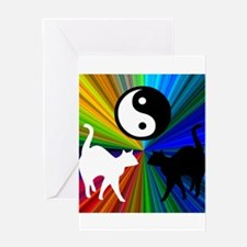 YIN YANG RAINBOW CATS Greeting Card