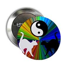 YIN YANG RAINBOW CATS Button