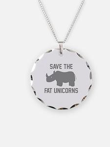 Save The Fat Unicorns Necklace Circle Charm