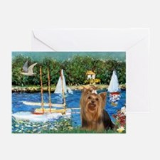 Sailboats & Yorkie #7 Greeting Cards (Pk of 10