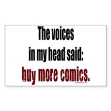 Buy more comic books voices Rectangle Decal