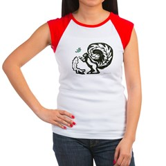 Black and White Women's Cap Sleeve T-Shirt