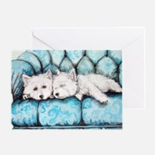 Westie Couch Potatoes Greeting Card