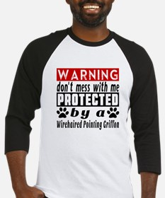 Protected By Wirehaired Pointing G Baseball Jersey