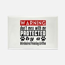 Protected By Wirehaired Pointing Rectangle Magnet