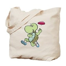 Turtle Playing Frisbee Tote Bag