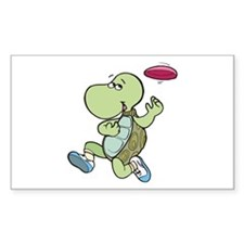 Turtle Playing Frisbee Rectangle Decal