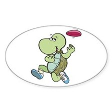 Turtle Playing Frisbee Oval Decal