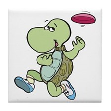 Turtle Playing Frisbee Tile Coaster