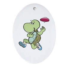 Turtle Playing Frisbee Oval Ornament