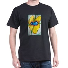 Big yellow crazy flower on a black T-Shirt