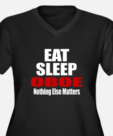 Eat Sleep Ob Women's Plus Size V-Neck Dark T-Shirt