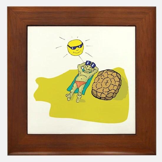 Silly Suntanning Turtle Framed Tile