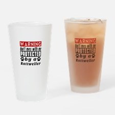 Protected By Rottweiler Drinking Glass