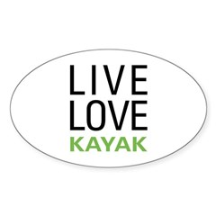 Live Love Kayak Oval Sticker