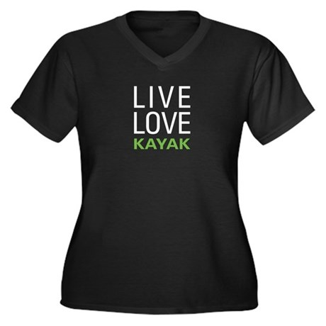 Live Love Kayak Women's Plus Size V-Neck Dark T-Sh