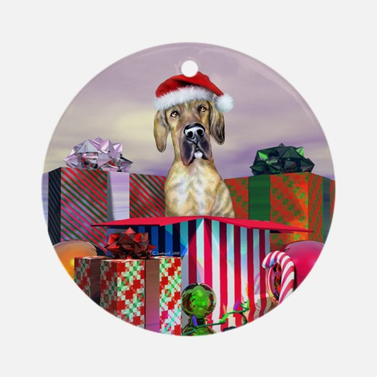 Brindle UC Dane Claus Ornament (Round)