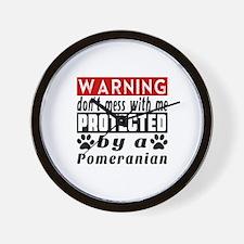 Protected By Pomeranian Wall Clock