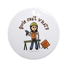 Light Construction Worker Ornament (Round)
