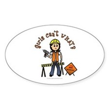 Light Construction Worker Oval Decal