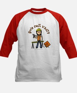 Light Construction Worker Kids Baseball Jersey