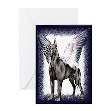 Great Dane Angel Black Greeting Card