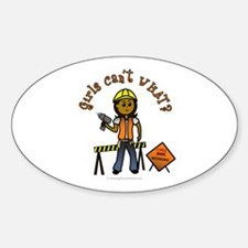 Dark Construction Worker Oval Decal